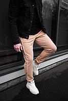 Классические бежевые мужские штаны в полоску хлопок