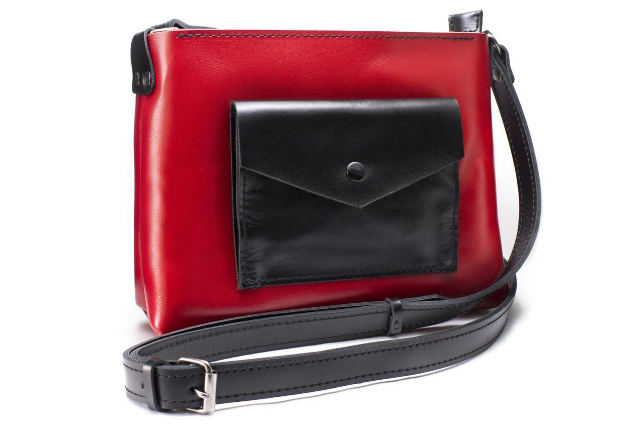Женская кожаная сумка Bossy красная