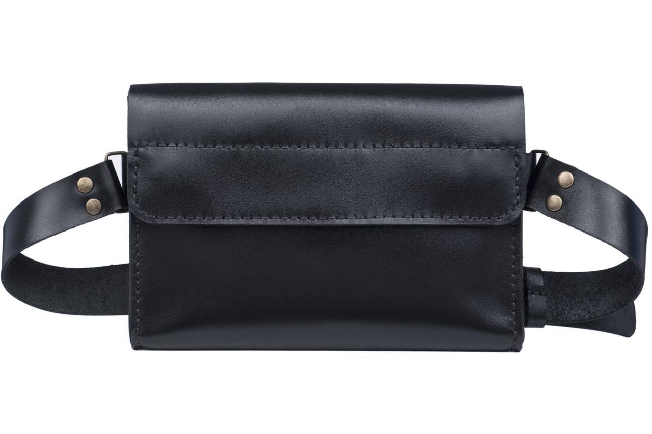 Женская кожаная поясная сумка-бананка Frendy черная