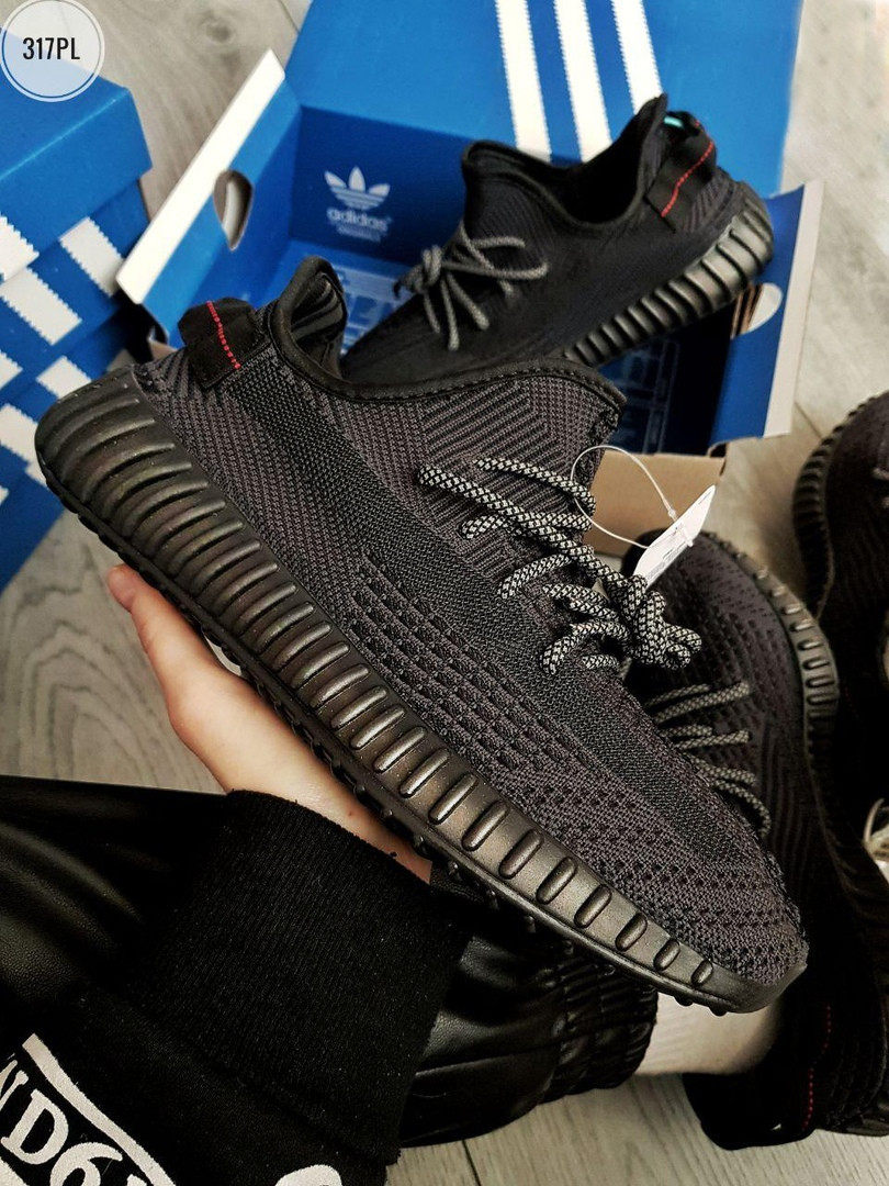 Чоловічі кросівки Adidas Yeezy Boost 350 V2 (чорні) Рефлективні - 317PL