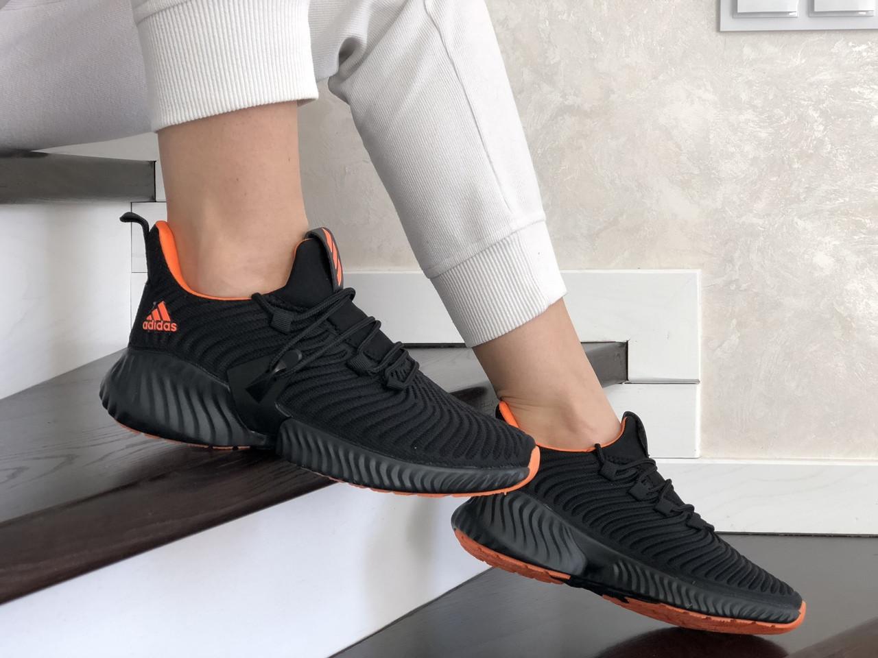 Женские кроссовки Adidas (черно-оранжевые) 9251