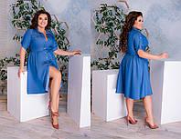 Лёгенькое платье халатик с тонкого джинса, с рубашечным воротничком по колено (48-62), фото 1