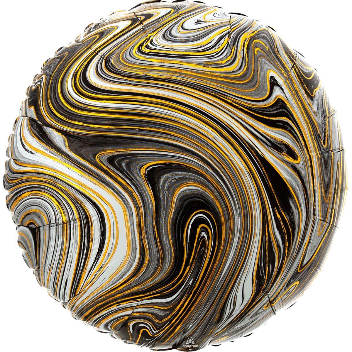 "Фольгированный Шар Круг с Рисунком Anagram (США) Агат Black Marble 18""/43 см"