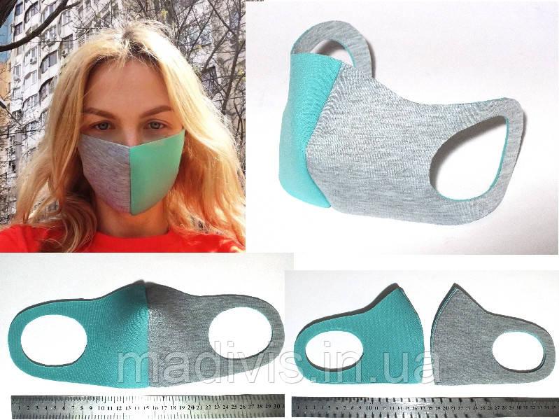 """Многоразовая защитная маска для лица """"Питта"""" двухцветная, (неопрен, двухсторонняя)"""