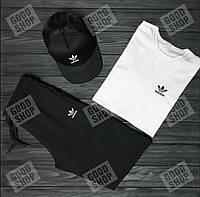Мужской летний костюм Адидас, летний костюм Adidas, (футболка/шорты/кепка), ТОП качество