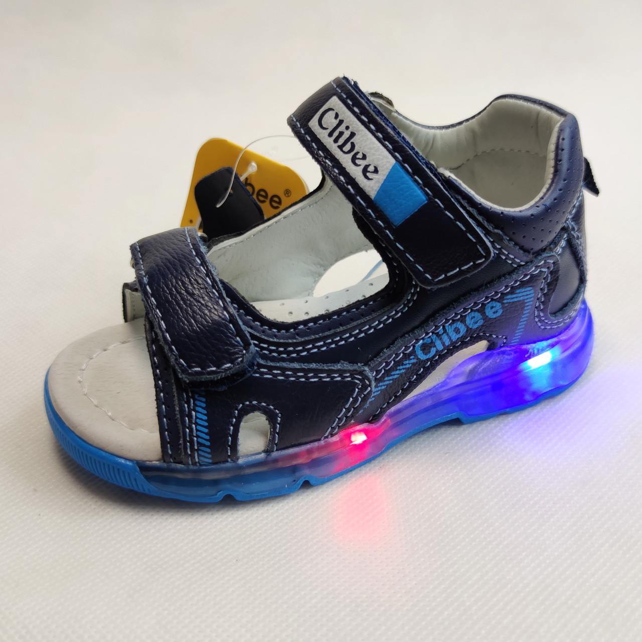 Босоножки, сандалии для мальчика синие Clibee с подсветкой LED