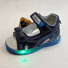 Детские светящиеся босоножки сандалии для мальчика с подсветкой подошвы LED синие Clibee 24р