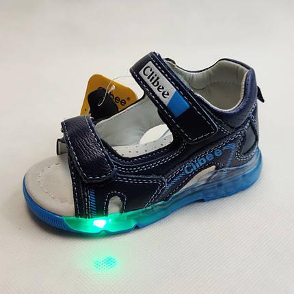 Детские светящиеся босоножки сандалии для мальчика с подсветкой подошвы LED синие Clibee 24р, фото 2