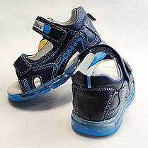 Детские светящиеся босоножки сандалии для мальчика с подсветкой подошвы LED синие Clibee 24р, фото 3