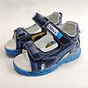 Детские светящиеся босоножки сандалии для мальчика с подсветкой подошвы LED синие Clibee 24р, фото 4