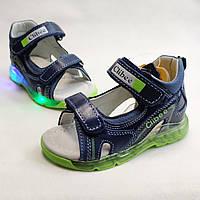 Детские светящиеся босоножки сандалии для мальчика с подсветкой подошвы LED зелёные Clibee 23р 14,5см