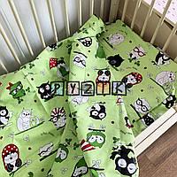 Постельный набор в детскую кроватку (3 предмета) Совята салатовый, фото 1
