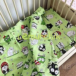 Постельный набор в детскую кроватку (3 предмета) Совята салатовый