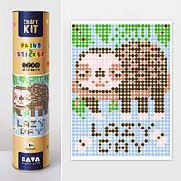 Картина по номерам раскраска с наклейками Ленивец