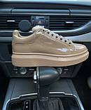Стильні жіночі кросівки Alexander McQueen (Олександр Маквин) Patent Beige, фото 2