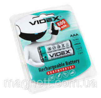 Перезаряжаемая батарейка (аккумулятор) AAA, 800 mAh, Videx, 2 шт, 1.2V, Blister