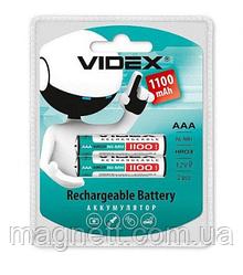 Перезаряжаемая батарейка (аккумулятор) AAA, 1100 mAh, Videx, 2 шт, 1.2V, Blister