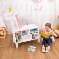 """Полка деревянная для книг и игрушек """"Единорожек"""""""
