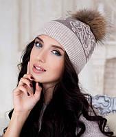 Зимняя женская шапка с меховым бубоном в 9ти цветах 4182