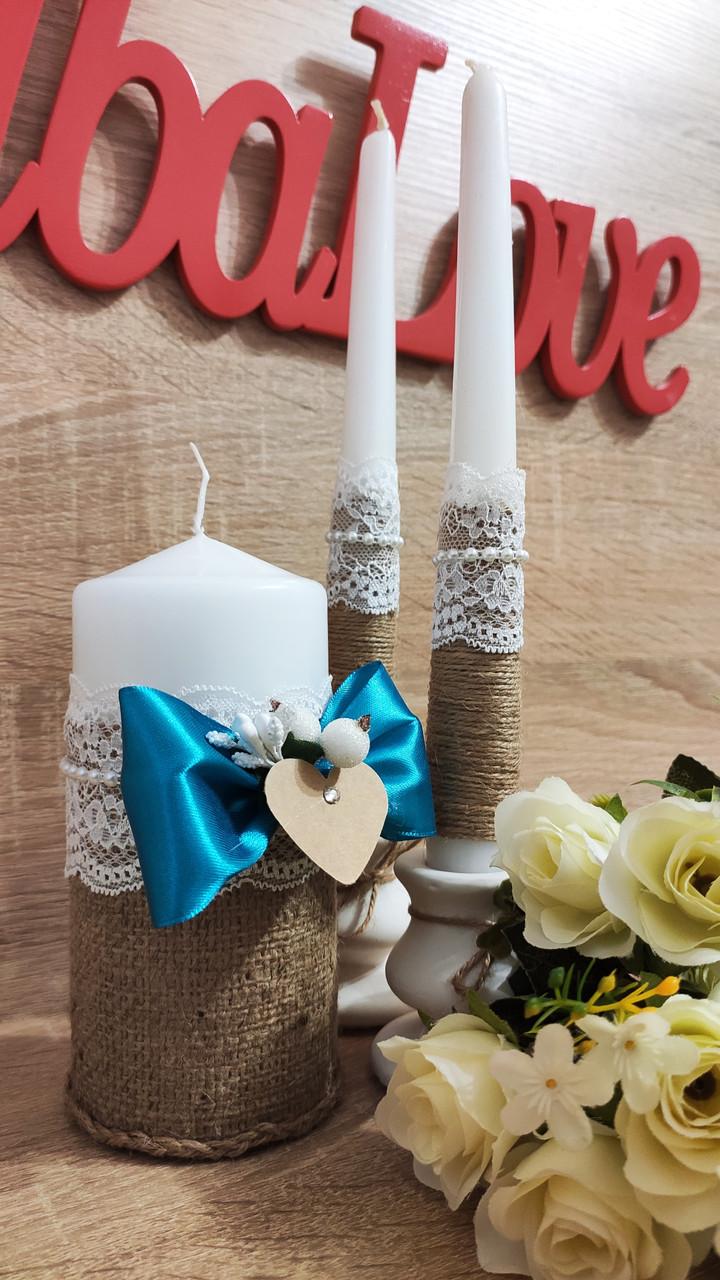 Набор свадебных свечей Этничность. Цвет бирюзовый.