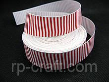 Стрічка репсова, новорічна. Червоно-білі смужки, 26 мм