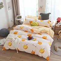 Шикарное сатиновое постельное белье от производителя с ярким принтом Апельсины 2 (двуспальный Евро комплект)