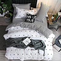 Шикарное сатиновое постельное белье от производителя с принтом Горошек (двуспальный Евро комплект)