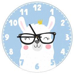 Годинники настінні круглі, 36 см Лама в окулярах (CHR_P_20A001)