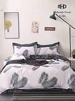 Шикарное сатиновое постельное белье от производителя с ярким принтом Черно-белое (семейный комплект)
