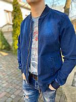 Мужская летняя джинсовая куртка бомбер легкая короткая