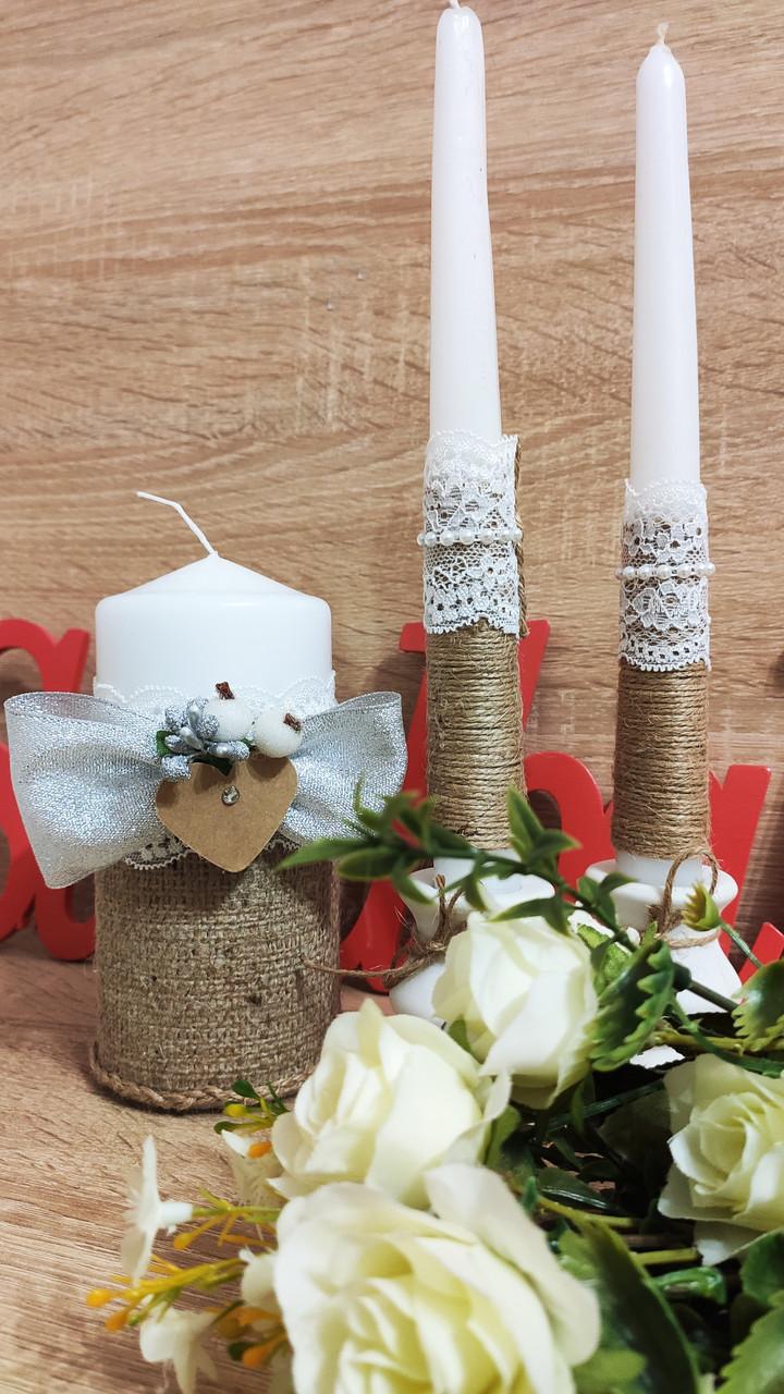 Набор свадебных свечей Этничность. Цвет серебряный.