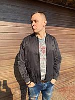Мужская весенняя куртка ветровка парка бомбер тонкая короткая на резинке молодежная