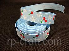 Стрічка репсова, новорічна. Сніжинки і вишні, 16 мм