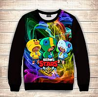 Світшот (толстовка) 3D Trio Leon Stars / Скіни Леона Brawl Stars, фото 1