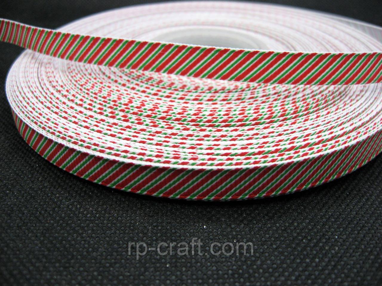 Стрічка репсова, новорічна. Червоно-біло-зелена смужка, 10 мм