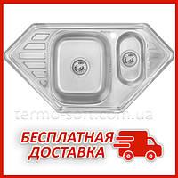 Двойная мойка для кухни из нержавейки Imperial 9550-С Decor (IMP9550СDECD) трапеция врезная с крылом