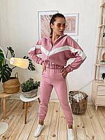 Женский молодежный спортивно/прогулочный костюм с укороченной кофтой розовый
