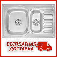 Двойная мойка для кухни из нержавейки Imperial 7850 Decor (IMP7850DECD) прямоугольная врезная с крылом
