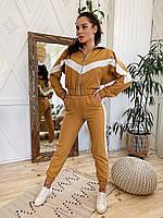 Женский молодежный спортивно/прогулочный костюм с короткой кофтой горчичный