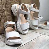 Жіночі шкіряні босоніжки білого кольору Можливий відшиваючи у інших кольорах, фото 2