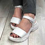 Жіночі шкіряні босоніжки білого кольору Можливий відшиваючи у інших кольорах, фото 5