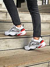 Женские кроссовки в стиле Nike M2K Tekno White\Grey\Red, фото 3