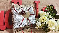 Свадебная подушечка для колец Этничность. Цвет марсала.