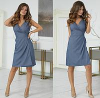 Женское летнее платье до колена с вырезом назапах 42 44 46 48 50 горох джинс цветы розовое бежевое черне пудра