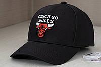 Черная кепка Chicago Bulls / Чикаго Буллз с объемной вышивкой