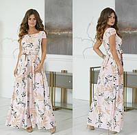 Женское летнее в пол платье с поясом короткий рукав 42 44 46 48 полоска розовое белое синее пудра черное
