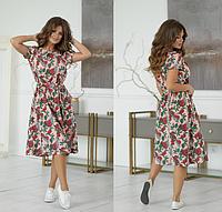 Женское летнее платье по колено 42 44 46 48 на резинке пудра бежевое розовое темно синее в цветах софт