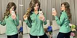Женская летняя классическая рубашка на пуговицах стрейч коттон 42 44 46 48 красная зеленая с белым горошком, фото 2