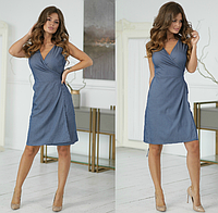 Женское летнее платье до колена с вырезом назапах 42 44 46 48 50 джинс цветы розовое бежевое темно синее пудра