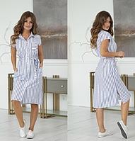 Женское летнее платье по колено с поясом 44 46 48 50 52 лен на пуговицах полоска синее белая с карманами